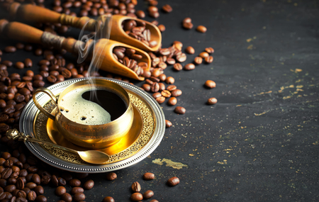 coffee cup set and beans Stock Photo