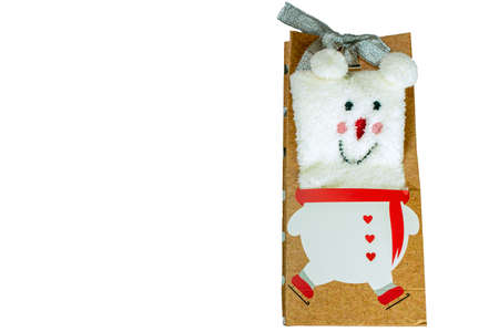 White Teddy bear in a gift box on a white isolated background Reklamní fotografie