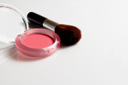 cosmetics on white background top view. 스톡 콘텐츠