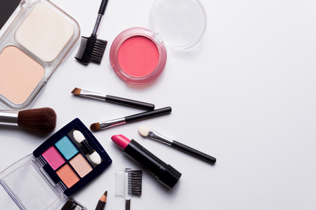cosmetics on white background top view. Stock Photo