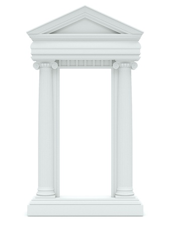 marble columns on white background