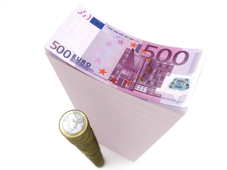 eur: stack of banknotes and coins of euro on isolated white Stock Photo