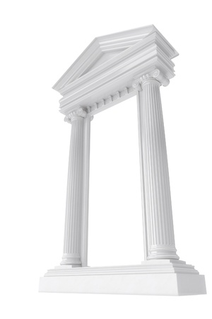 3d temple: marble columns isolated on a white background