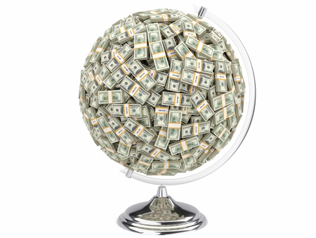 benjamin franklin: Globe of U S  dollars isolated on a white background  Stock Photo