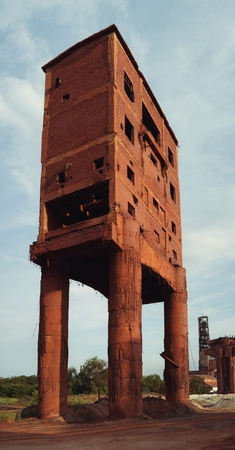 industrial ruins: old brick building