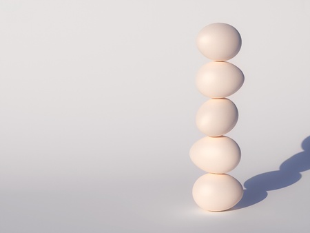 stability eggs construction in sunrays Stock Photo