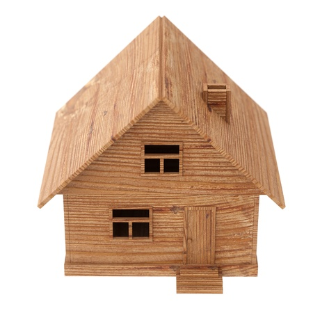 lodge: toy wooden house on white Stock Photo