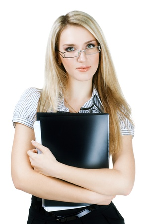 Business woman holding a folder and looking at camera  photo