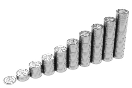 enhancement: stacks of U.S. silver coins isolated on white Stock Photo