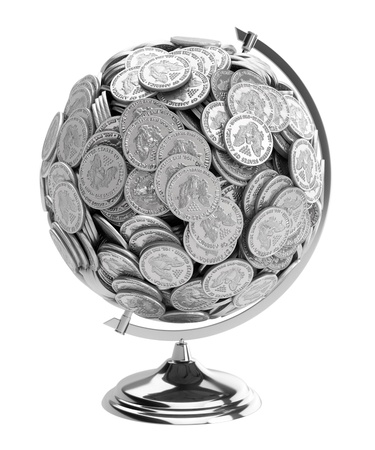 gift for businessman Globe of coins isolated on white  photo