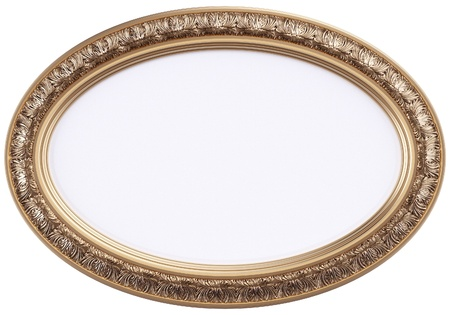 ornamentation: oval gilded picture frame or mirror isolated on white