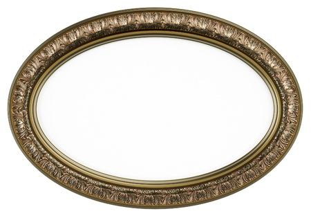 Classic oval picture frame or mirror isolated on white  Stock Photo
