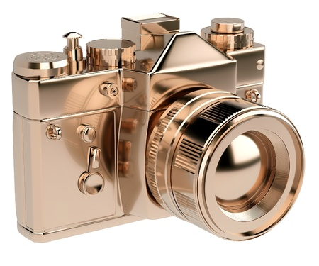 gold photocamera isolated on white background  Stock Photo
