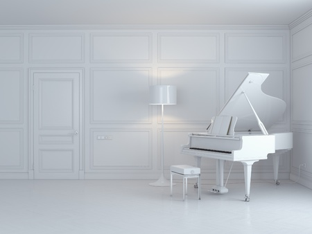 luxury condo: white piano in a white interior  Stock Photo