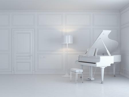 witte piano in een wit interieur Stockfoto