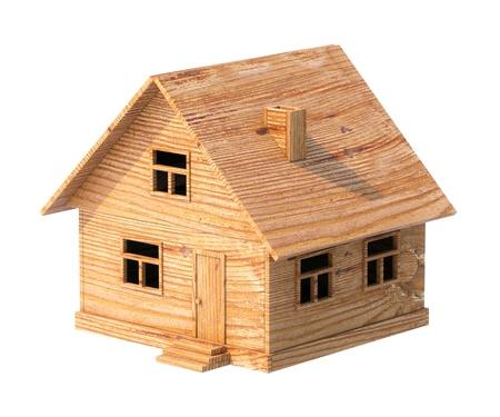 speelgoed huis gemaakt van triplex op wit wordt geïsoleerd