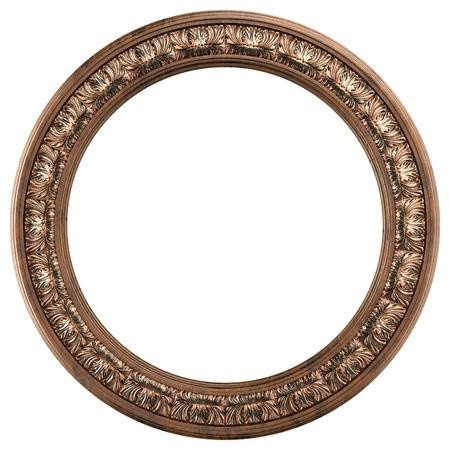 ronde versierd oud goud fotolijst op wit wordt geïsoleerd