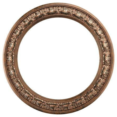 few: round ornamented old gold picture frame isolated on white