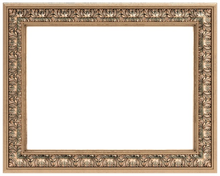 rectangular gold carved frame for a mirror or a picture  Stock Photo