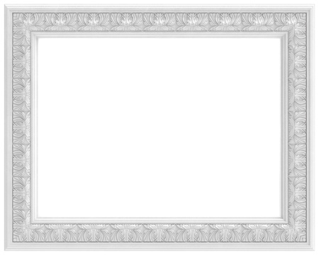 bronze texture: white carved frame for picture  isolated on white background