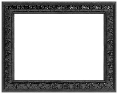 black carved frame for a mirror  isolated on white background