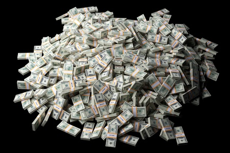 money pile: huge pile of American money on black background