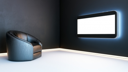 stylish interior with concrete walls painted in black and white glossy floor  Before the black leather chair is a modern TV with a blank screen and touch technology photo