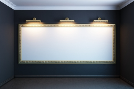 exhibition hall: gallery interior with big golden empty frame and lighters  black version