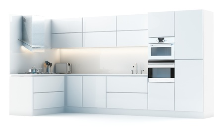 Modern white kitchen isolated on white  studio light version  Stock Photo