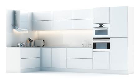 Moderne witte keuken op een witte studio light-versie
