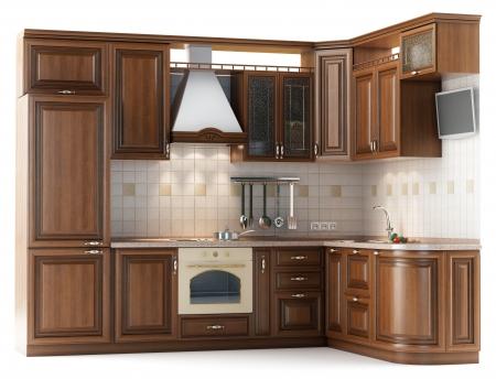 Beautiful kitchen furniture made of wood in the studio lightingisolated on white Stock Photo - 13646151