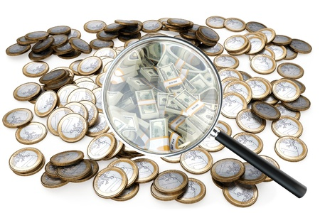 look at your success in businessloupe with money isolated on white  version 1 Stock Photo - 13646146
