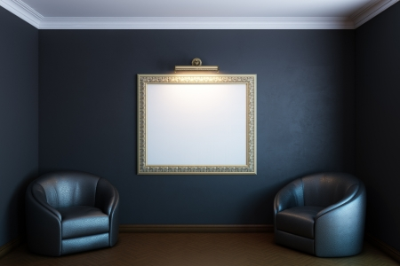 black gallery room with classic blank frame on wall and armchairs 免版税图像