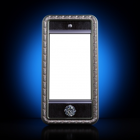 Exclusive golden mobile phone with diamond home button for VIP with blank screen on blue background  Iphone-style device  photo