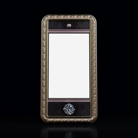 Exclusive golden mobile phone with diamond home button for VIP with blank screen on black background  Iphone style device  Stock Photo