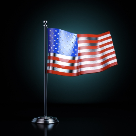 declaration of independence: American flag  Table souvenir to celebrate the signing of the Declaration of Independence United States   version with blue back light   Stock Photo