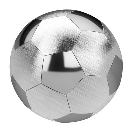 metalen voet bal geïsoleerd op witte achtergrond Stockfoto