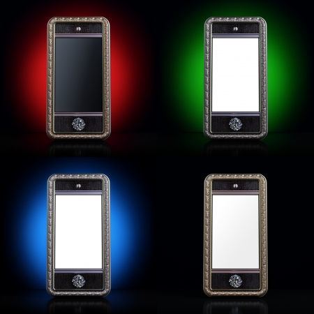 classic styled touchscreen smartphone 3d rendered  set of four style devices  photo