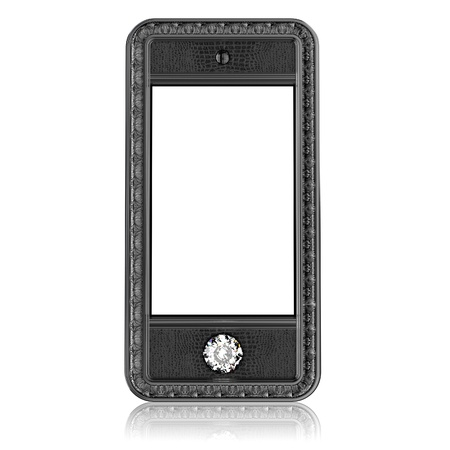 button front: plastic phone with  blank touch screen and the diamond button for VIP  isolated on white background  front version