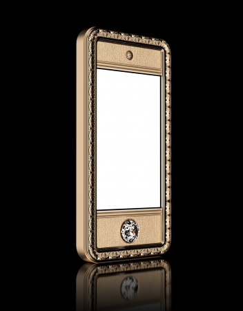 Gold phone with  blank touch screen and the diamond button for VIP  isolated on black background  perspective version  photo