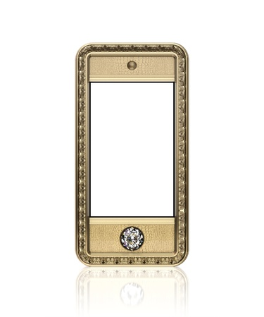 Golden phone with  blank touch screen and the diamond button for VIP  isolated on white background  front version  photo