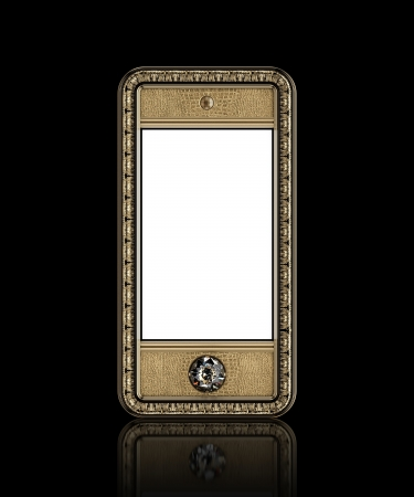 Gold phone with  blank touch screen and the diamond button for VIP  isolated on black background  front version  Stock Photo