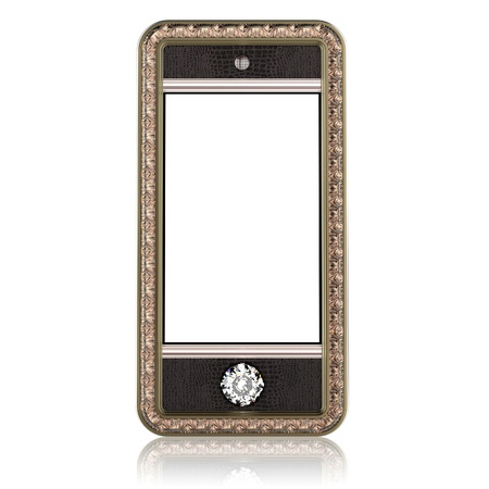 Gold phone with touch screen technology and the diamond button for VIP isolated on white  leather version  photo