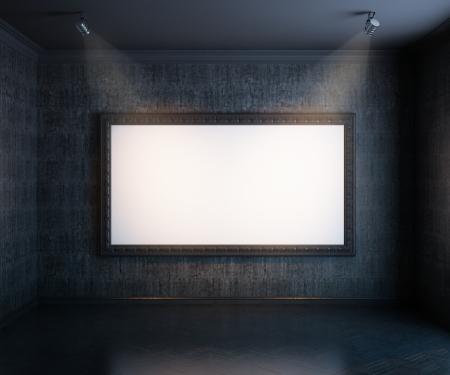 Nueva galería interior con parquet de madera y vacío versión para la gran marco negro las paredes Foto de archivo - 13994014