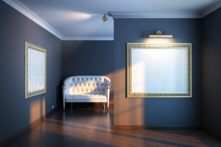 art gallery interior: new interior gallery with wooden parquet and empty frames  black color version and  white sofa