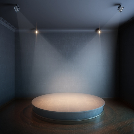 new interior with a round concrete podium and lighters  black painted walls version  photo