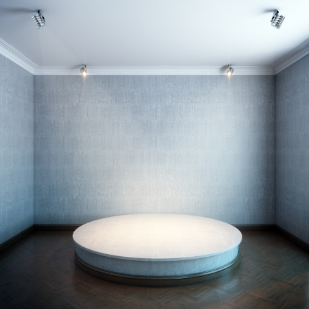 new interior with a round concrete podium and lighters  grey concrete walls version  photo