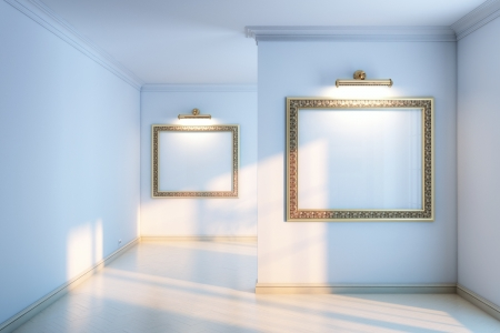 new interior gallery with wooden parquet and empty frames and lighters  grey color version  photo
