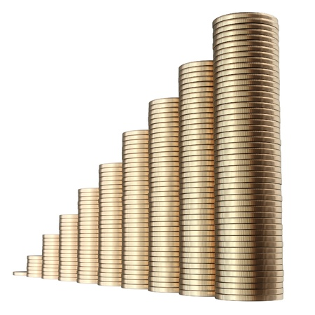 revenue growth in the form of piles of golden coins isolated on white background  second version  Stock Photo - 14269083