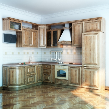 wood kitchen in new white room with parquet floor